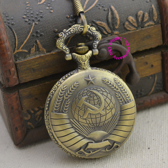 fashion Soviet BOLSHEVIK flag quartz pocket watch woman vintage antique fob watches men retro ancient gift bronze sickle hammer - Chic Watches store