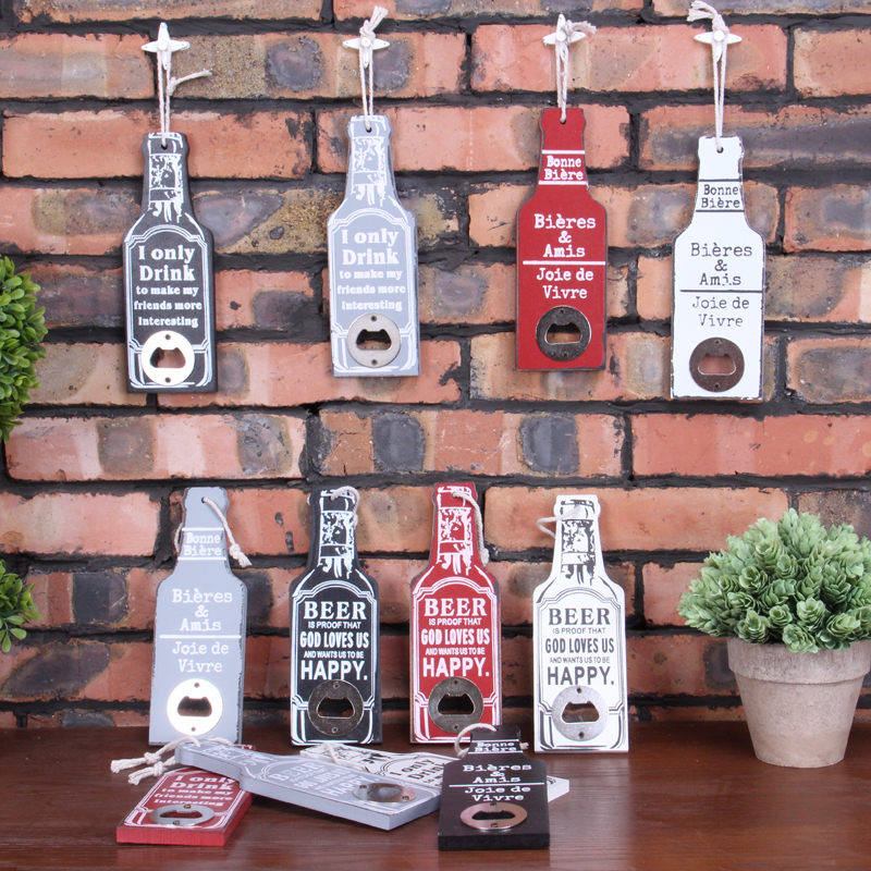 Aqumotic 20cm Wood Wine Opener Box Beer Bottle Opener 1pc Bar Retro Red Black White Grey Open Sign Wood Can Opener