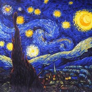 Image 3 - Donkerblauw 100% Real Zijden Sjaal Voor Dames Merk Designer Sjaals Lente Herfst Van Gogh Olieverf Vierkante Sjaals Wraps 90*90Cm