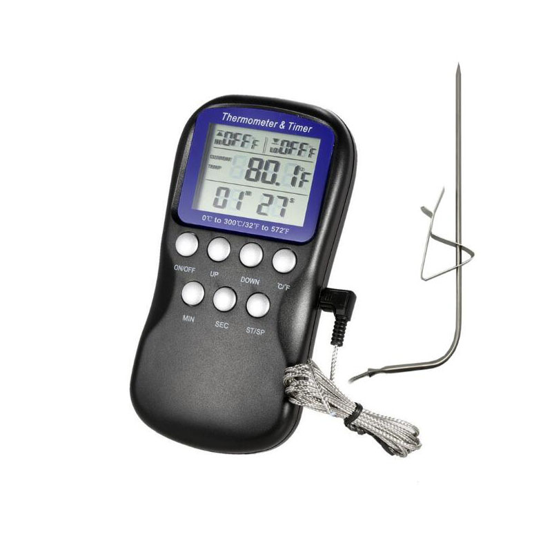 Alarm Probe Type Food Thermometer Digital Cooking Meat Barbecue Liquid Food Oven Electronic Thermometer With Ttimer