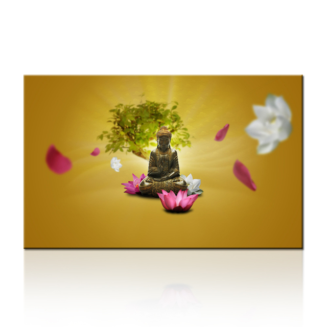 FREE SHIPPING Merciful Buddha Canvas Wall Art Lotus Flowers Zen with ...