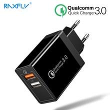 RAXFLY Quick Charge 3,0 30 Вт двойной Порты USB Зарядное устройство для samsung S9 S8 быстрой зарядки для Xiaomi Redmi Note 7 huawei телефон Зарядное устройство