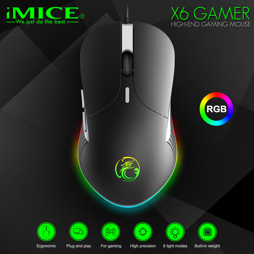 imice X6 High configuration USB Wired Gaming Mouse Computer Gamer 6400 DPI Optical Mice for Laptop