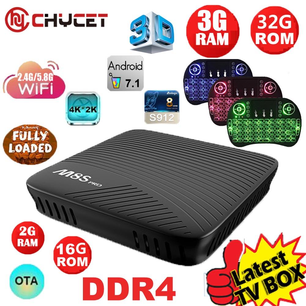 Mecool M8S Pro tv box Android 7.1 TV Box DDR4 3G 32G Amlogic S912 Octa Core Wifi 4K 3D Miracast Smart Tv Box Set Top Box PK X92 mecool m8s pro android 7 1 smart tv box bt 4 1 ddr4 amlogic s912 2 0ghz octa core arm wifi 4k full hd 3g ram 32g rom set top box