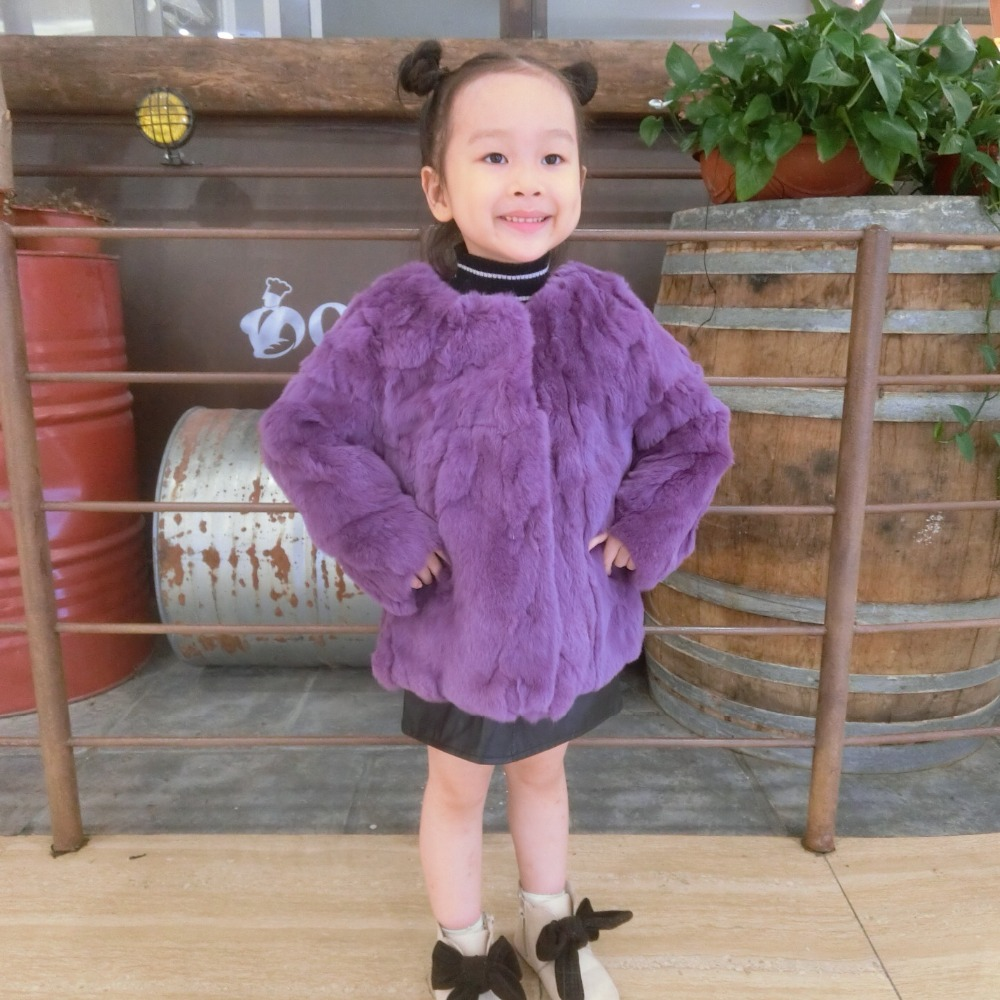 Girls 100% Real Rabbit Fur Jacket O Neck Fashion Chic Children Natural Fur Coat Long Sleeves Autumn Winter Kids Clothing TZ356 цена