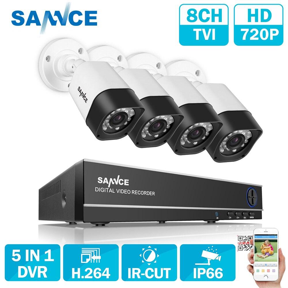 SANNCE 8CH AHD 5 в 1 система безопасности DVR HDMI 1280*720 1200TVL AHD Всепогодная уличная камера видеонаблюдения 1.0MP AHD комплект видеонаблюдения