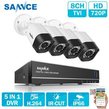 SANNCE 8CH AHD 5 IN 1 Security DVR System HDMI 1280*720 1200TVL AHD Weatherproof Outdoor CCTV Camera 1.0MP AHD Surveillance Kit
