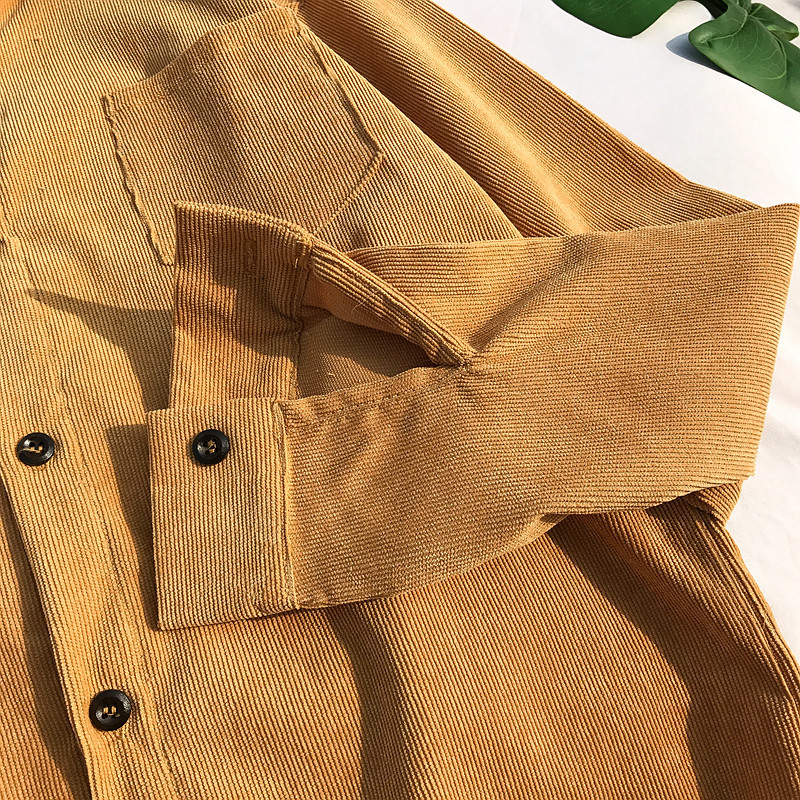 Corduroy Material Turn down Preppy Style Shirt Men 2018 Autumn Solid Color Men 39 s Shirt 4 Colors in Casual Shirts from Men 39 s Clothing