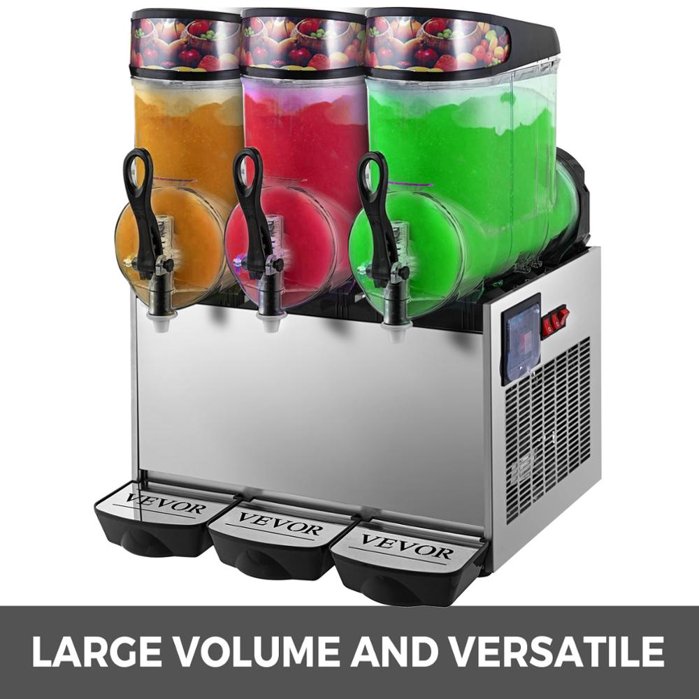 Triple-Bowl Full Size Slush Frozen Drink Machine 900W Commercial Use 12L*3