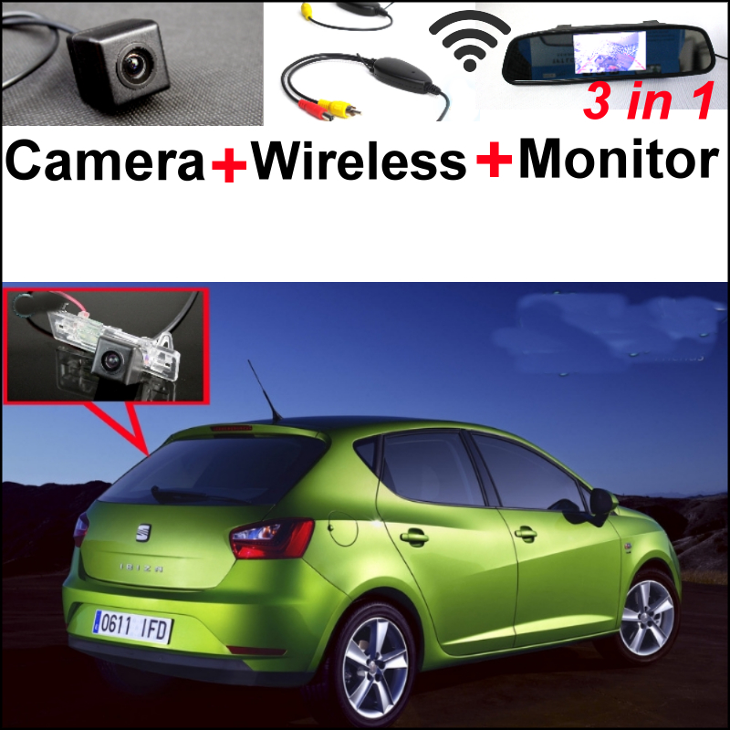 Special WiFi Camera + Wireless Receiver + Mirror Monitor 3 in 1 Backup Parking System For SEAT IBIZA MK4 6J  ST wireless pager system 433 92mhz wireless restaurant table buzzer with monitor and watch receiver 3 display 42 call button