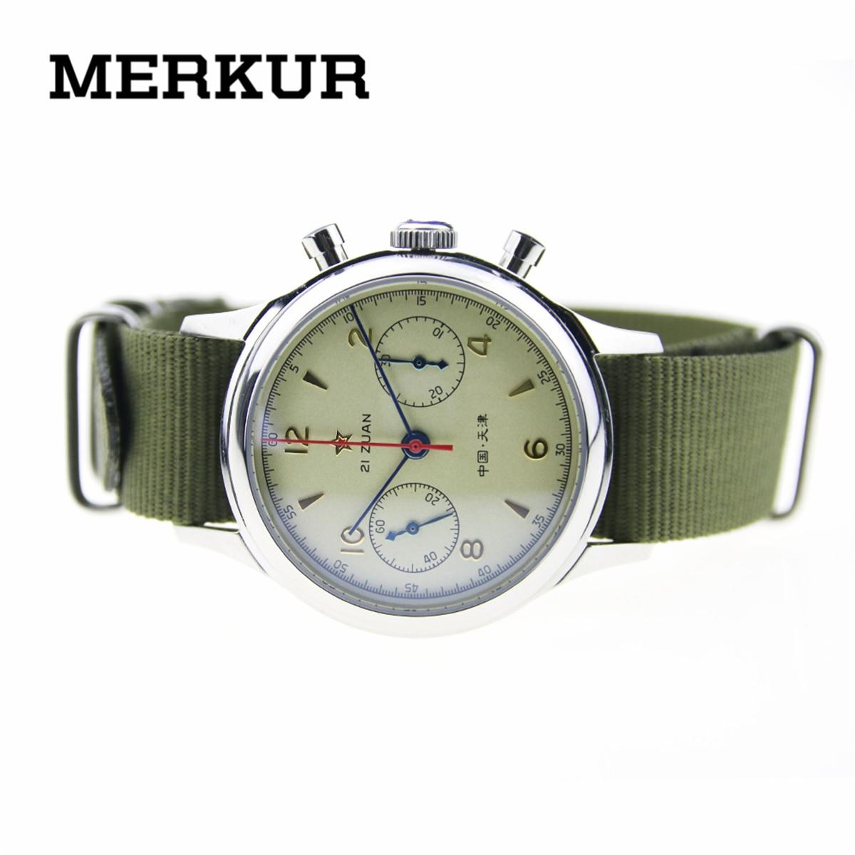 Movimiento de gaviota cronógrafo mecánico reloj de pulsera para hombre piloto offidorl reission 304 St19 1963 funda trasera de exibición
