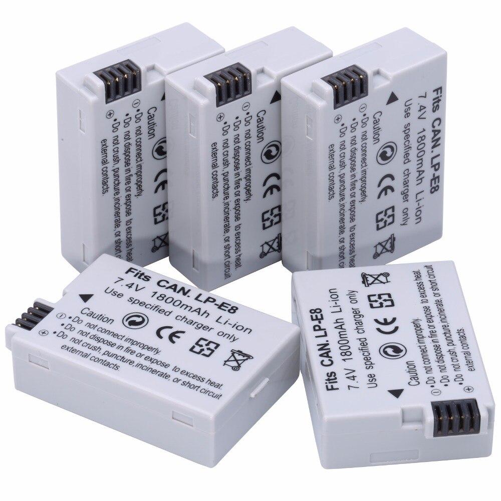 5 unids probty lp-e8 lpe8 lpe8 Cámara Baterías akku paquete para Canon 550d 600d 650d 700d X4 X5 x6i x7i t2i t3i t4i t5i cámara DSLR