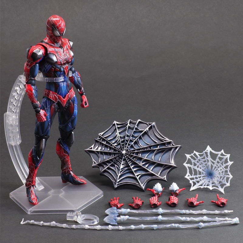amazing toys Anime Amazing Spiderman Play Arts Kai Pvc Action Figure 28CM Super Heros Red Spider Man Collectible Model Kids Toys for Boys Men