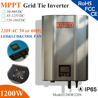 1200W Grid Tie Inverter with IP65 waterproof, MPPT fuction, wide VDC, 190 260VAC, 60hz/50hz, LED&LCD display for solar system