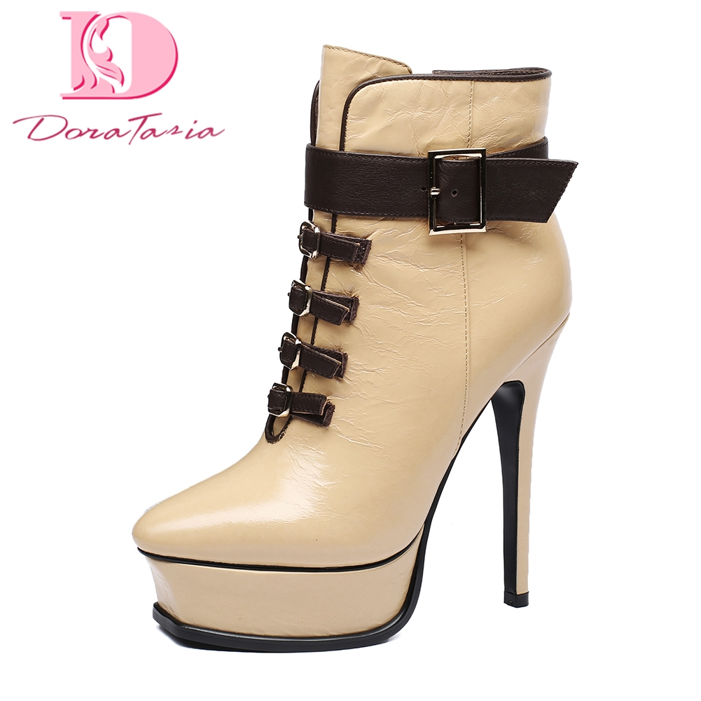 Doratasia Genuine Leather Zip Up Platform Elegant Ankle Boots sexy thin High Heels Party Wedding Boots Woman Shoes Women doratasia genuine leather zip up platform elegant ankle boots sexy thin high heels party wedding boots woman shoes women