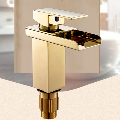 цена на Golden color bathroom waterfall faucet with solid brass hot cold basin sink mixer tap from DONA Sanitary Ware