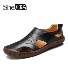 2019 Cow Leather Men Sandals Black Brown Sewing Beach Shoes Cool Summer Breathable Mens size 38-44