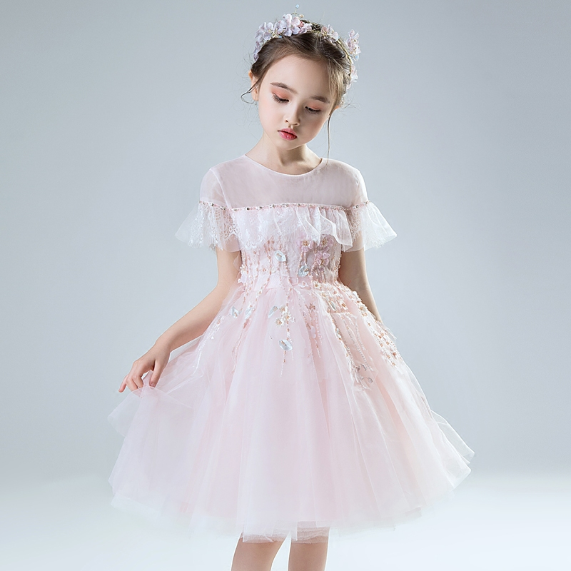 Children Girls Sweet Beautiful Pink Purple Color Birthday Wedding Party Lace Ball Gown Dress Kids Babies Piano Host Mesh Dress elegant children girls lace princess birthday wedding party pink dresses kids babies clothing costume piano host tutu mesh dress