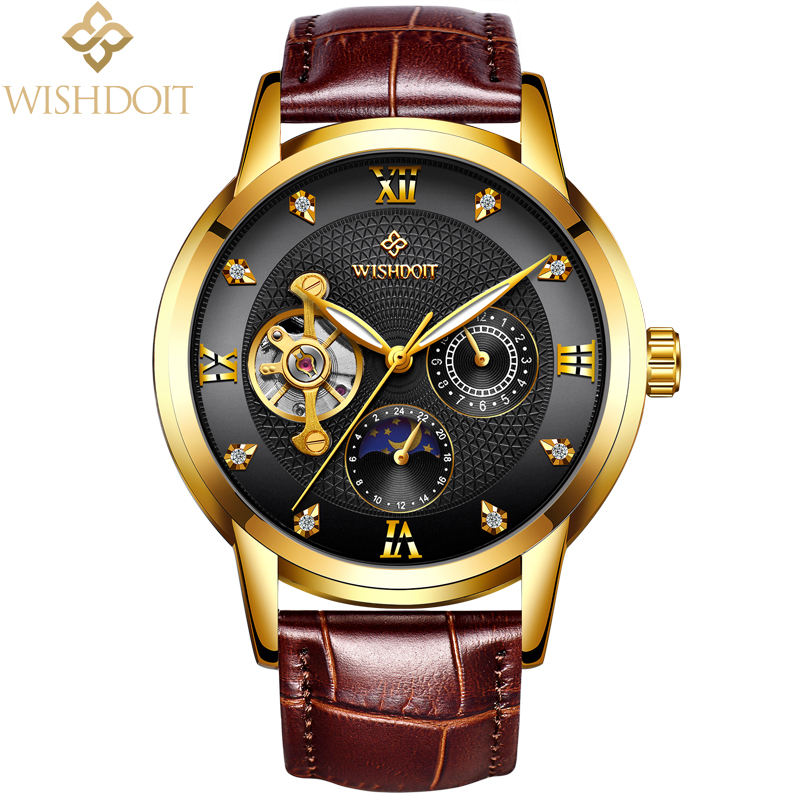 Mechanical Automatic Skeleton Watches Men Steampunk Wrist Watch WISHDOIT Top Brand Luxury Leather Clock Fashion Business Watch