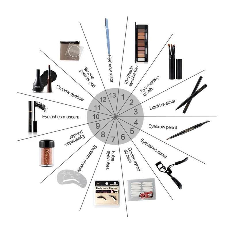 13PCS Christmas Gift Makeup Set Eye Shadow Palette Fake Eyelashes Curler Brush Mascara Eyeliner Eyebrow Pencil Beauty Eye Set