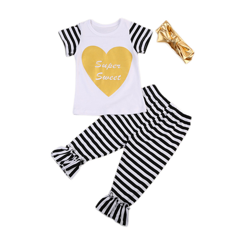 3PCS New Style Toddler Kids Baby Girls Clothes Short Sleeve T-shirt Tops+Striped Pants+Headdress Baby Clothing Set 2-7T