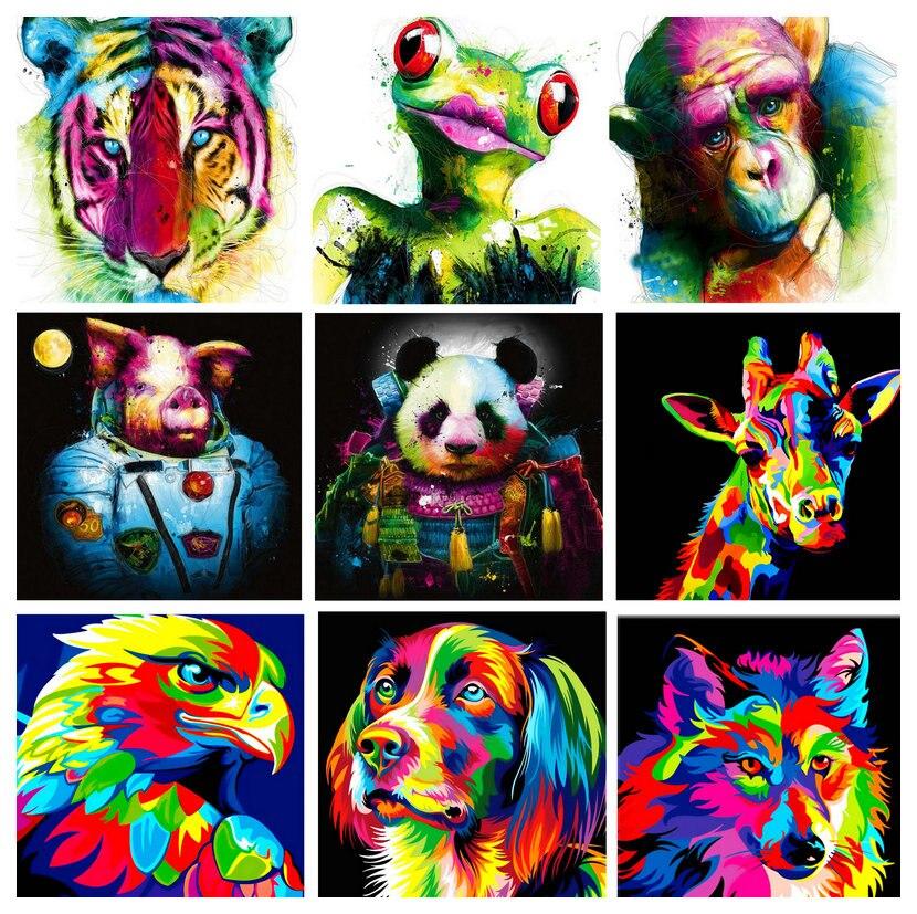 ArtBack Cartoon 5d diamant peinture animaux de couleur pleine carré strass mosaïque 3D abstraite peinture décorative