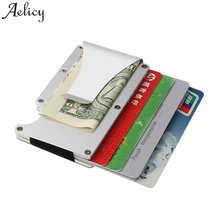5ad5bc8f51 Aelicy Metallo Mini Clip Dei Soldi di Modo di Marca Nero Bianco ID Porta  Carte di Credito Con RFID Anti-capo Degli Uomini di Aff..