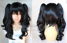 Hot Sell!  Beautiful New Short black cosplay women's wig long wavy pigtails wigs