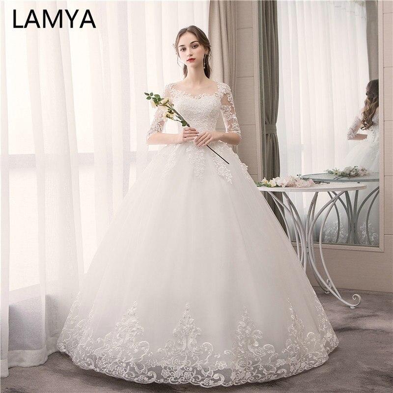 LAMYA Luxury Lace Embroidery Wedding Dresses With Half Sleeve 2019 Sweetheart Elegant Plus Size Vestido De Noiva Bride Gelinlik