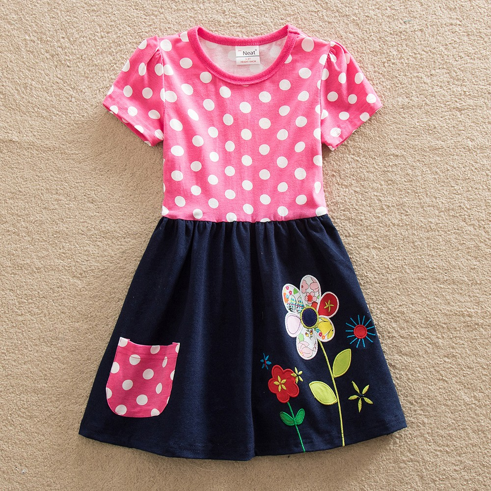 2017 wholesale BABY girls clothes short sleeves dots girls dresses a line brand childrens clothing H5748