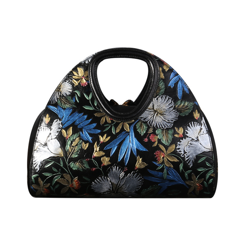 2017 new hand-painted embossed women genuine leather handbags Women's hand bag Chinese wind first layer cowhide female handbags original national wind leather ladies handbag 2017 spring of the new chinese wind hand bag woman women s handbags