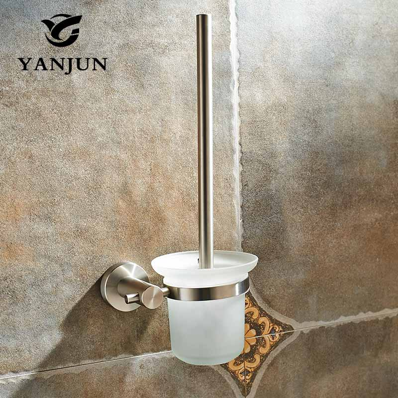 YANJUN Stainless STeel Toilet Brush Holder Bathroom Accessories WC Brush With A Long Handle For Home  YJ-7562 hot sale chrome finish with diamond toilet paper holder lavatory wc roll tissue porte papier bathroom basin accessories
