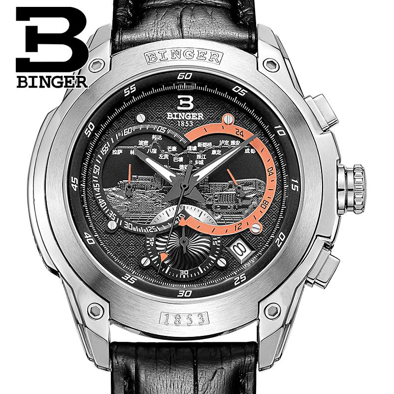 Switzerland watches men luxury brand Wristwatches BINGER Quartz men's watch leather strap Chronograph Diver glowwatch B6013-5 switzerland binger men s watches luxury brand quartz waterproof leather strap clock chronograph stop watch wristwatches b9202 8