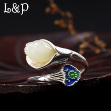 L&P Gemstone 100% Silver Ring For Women Ethnic Style Cloisonn Magnolia Handmade Vintage 925 Sterling Ring Fine Jewelry Wholesale