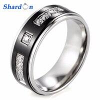 SHARDON Wedding Jewelry Solid Titanium Men Ring Black Plated Center with Multi Cubic Zirconia Engagement Wedding Band