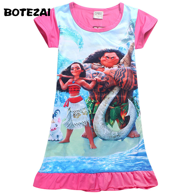 4-10Years 2017 New Cartoon Summer children kids girl tees dress fashion Moana clothing cute design girls princess dresses samurai kl 3