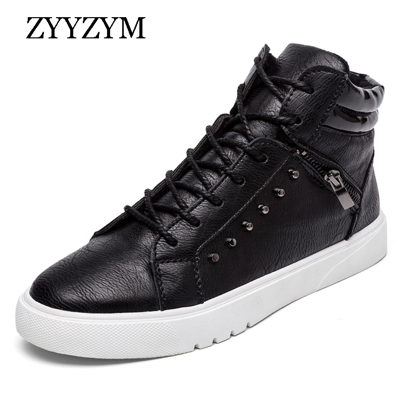 Casual Boots Men New Arrival Spring Autumn Ankle Fashion Boot PU Leather Flat With Leisure Youth