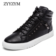 Casual Boots Men New Arrival Spring Autumn Ankle Fashion Boot PU Leather Flat With Leisure Youth Shoe Hot Sales