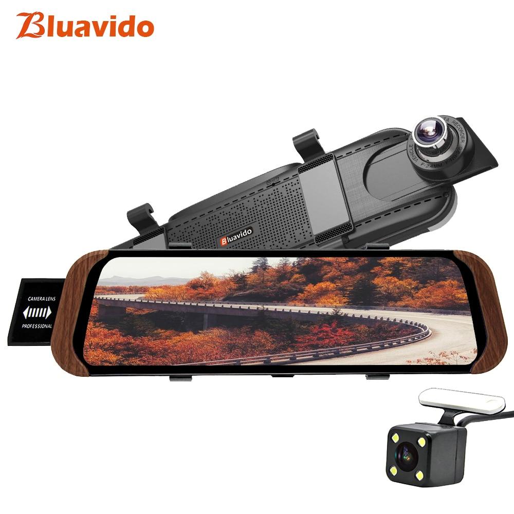 Bluavido 10 polegada 4g adas android espelho retrovisor do carro dvr câmera de navegação gps fhd 1080 p traço cam gravador vídeo monitor wi-fi