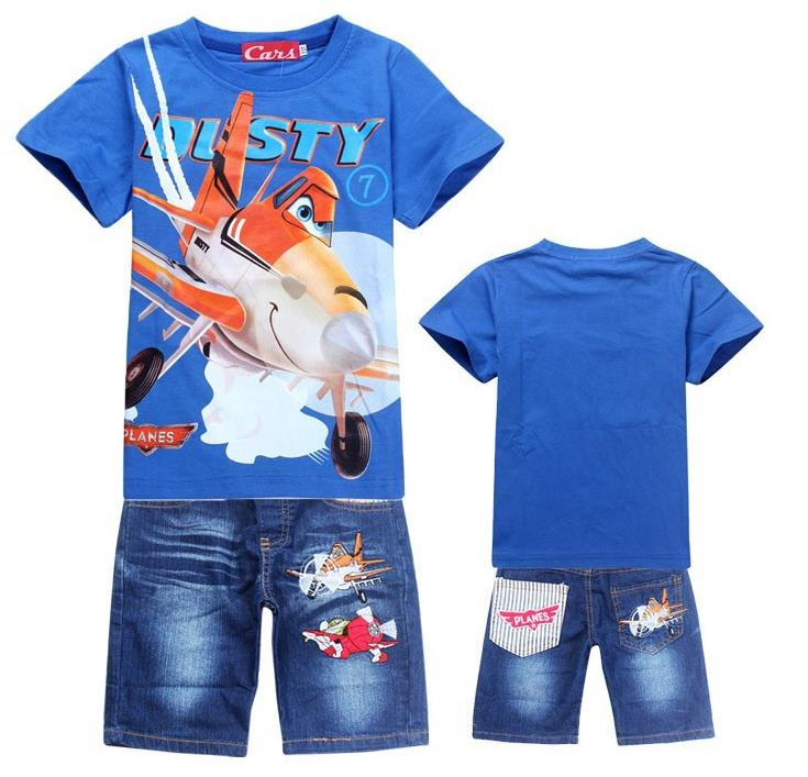 New 2016 Retail Children Set Cartoon DUSTY PLANE fashion suit boys jeans sets t shirt pant