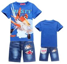Nouveau 2016 Détail Enfants Set de Bande Dessinée DUSTY AVION costume de la mode garçons jeans ensembles t-shirt + pantalon 2 pcs enfants Vêtements