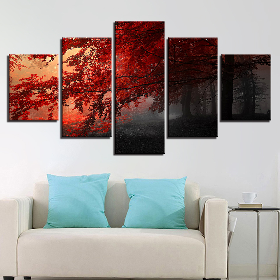Modern Painting Frame Art Poster 5 Panel Mangrove Landscape Wall Modular Picture Home Decor Print On Canvas For Living Room
