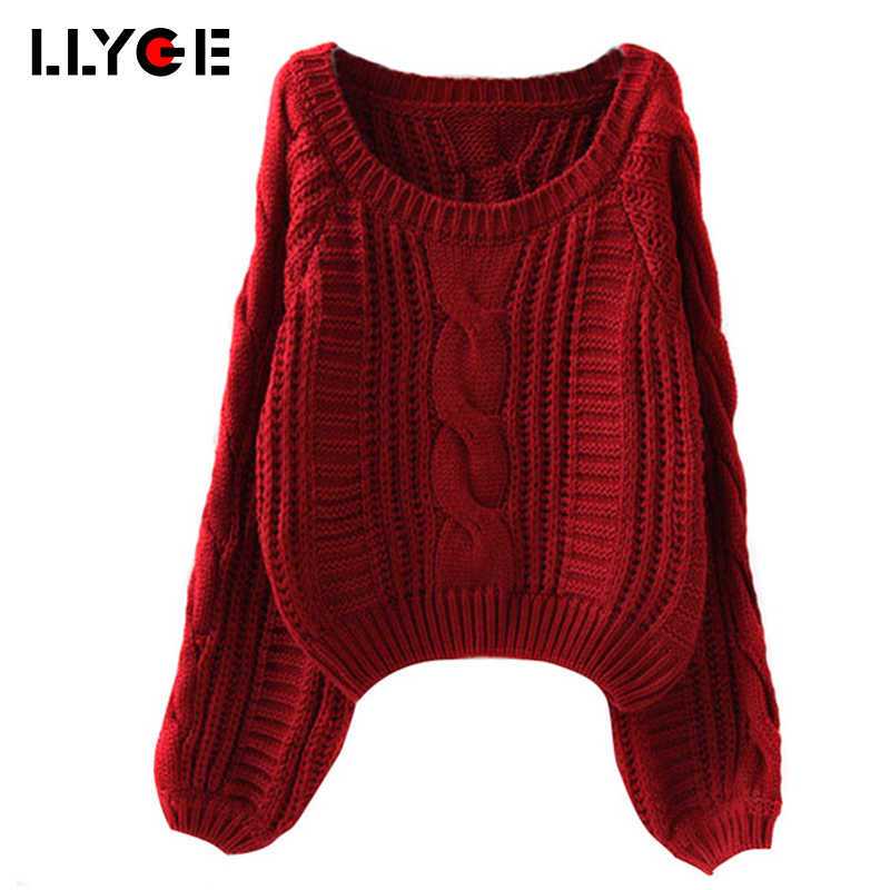 LLYGE Christmas Sweater Crop Top Autumn And Winter Women Sweater Long Sleeve Solid Twist Slim Knitted Pullover Sweaters