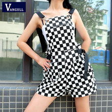 Vangull Women Romper Jumpsuit Overalls Backless Strap Shorts 2019 New Fashion Summer Suit Female Black White Plaid Playsuit(China)