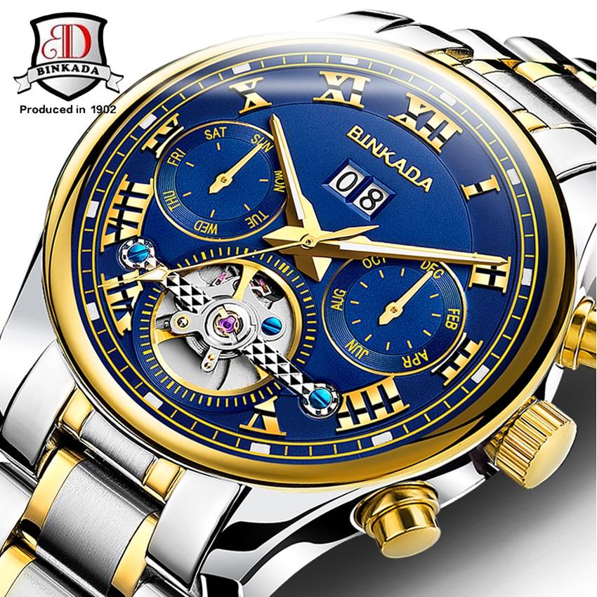 BINKADA 2017 High Quality Men Watches Top Brand Luxury Skeleton Mechanical Watch Clock Men Gold Watches Men Wristwatch Montre