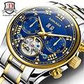 BINKADA 2017 de Alta Calidad de Los Hombres Relojes de Primeras Marcas de Lujo Mecánico Esquelético Del Reloj Del Reloj de Los Hombres Relojes de Oro Hombres Reloj Montre