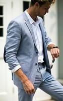 2019 Smoking Blue Linen Men Suit Classic Summer Jacket Men Suits For Wedding Smart Casual Beach Prom Blazer Slim Jacket+Pants