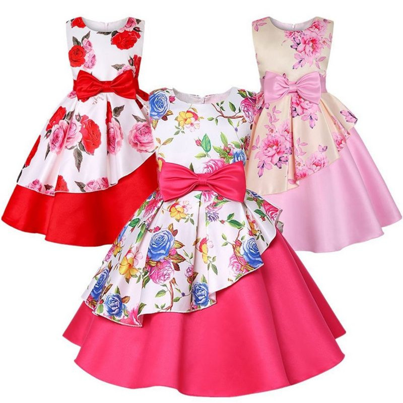 Kids Girl Dresses Floral Dress For Infant Baby Party Wedding Children baby girl clothes