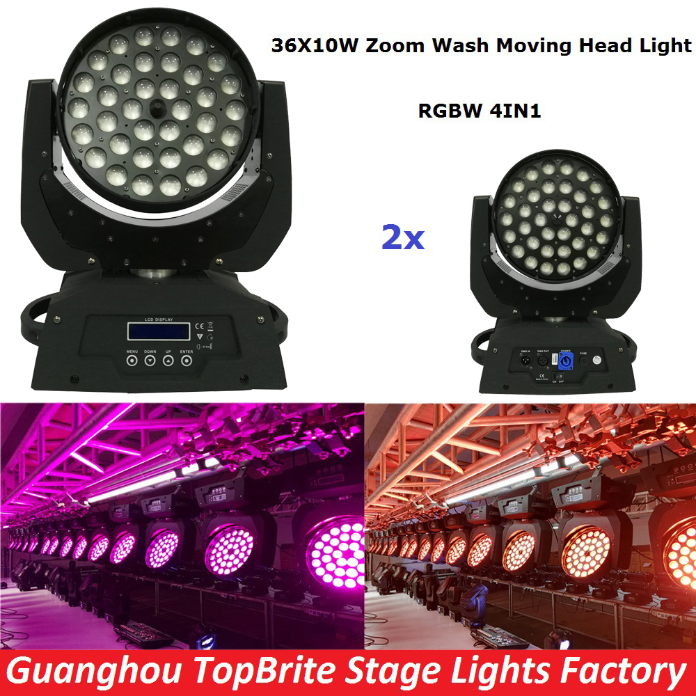 2XLot Free Shipping 36x10W 4IN1 Zoom Led Moving Head Light RGBW 4IN1 DMX512 Led Moving Head Wash Beam Effect Light New Arrival стеллар погремушка восьмерка стеллар