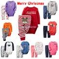 Мальчики одежда 2 шт. baby набор мультфильм ползунки + детские брюки рождественские одежда малыша одежда для девочек новорожденных девочек набор